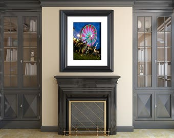 Night Photography Ferris Wheel 1 - Fine Art Canvas - Home Decor Wall Art Prints Unframed