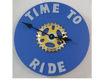 Time to Ride Bicycle Sprocket Clock - Blue Base