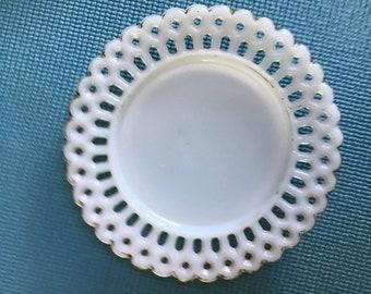 Antique Victorian EAPG Milk Glass Peg Lace Edge Plate