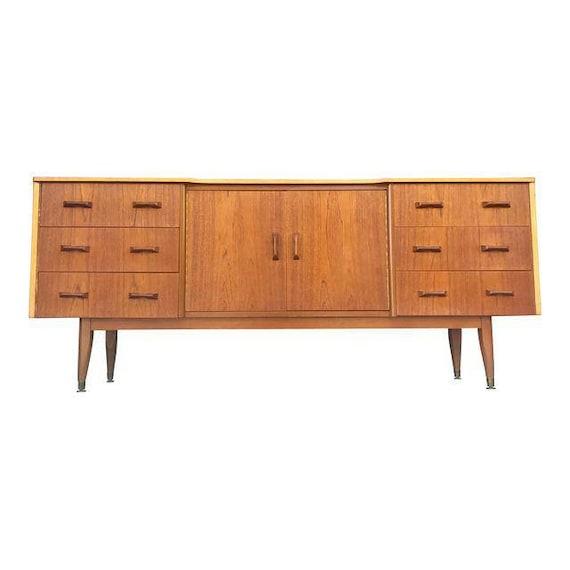 Vintage Tv Stand Mid Century Modern Solid Teak Sideboard Credenza Tv Stand Buffet Table Danish Mcm Retro Vintage Dresser Bookshelf