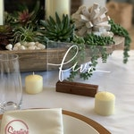 Acrylic Table Numbers, Boho Chic Wedding Table Signs, Clear Table Numbers with Stand