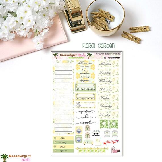 Jardin fleuri | kit 7 hebdomadaire | 7 kit fiches | autocollants de planificateur 1544c8