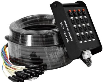 Seismic Audio-SAXQ-12x4x50-12 Channel 50-Feet XLR Snake Cable with XLR and 1//4-Inch Returns on The Box
