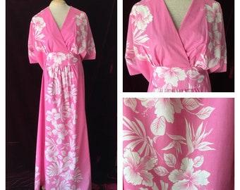 Vintage Hawaiian Caftan One Size Royal Creations Kimono Maxi Dress Pink & White Floral  Mumu Flowers Aloha