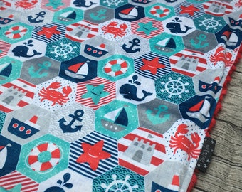 Baby boy nautical blanket, minky, cotton or organic cotton, many sizes available
