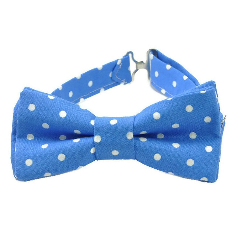 Blue polka dot bow tie for boys toddlers and baby boys image 0