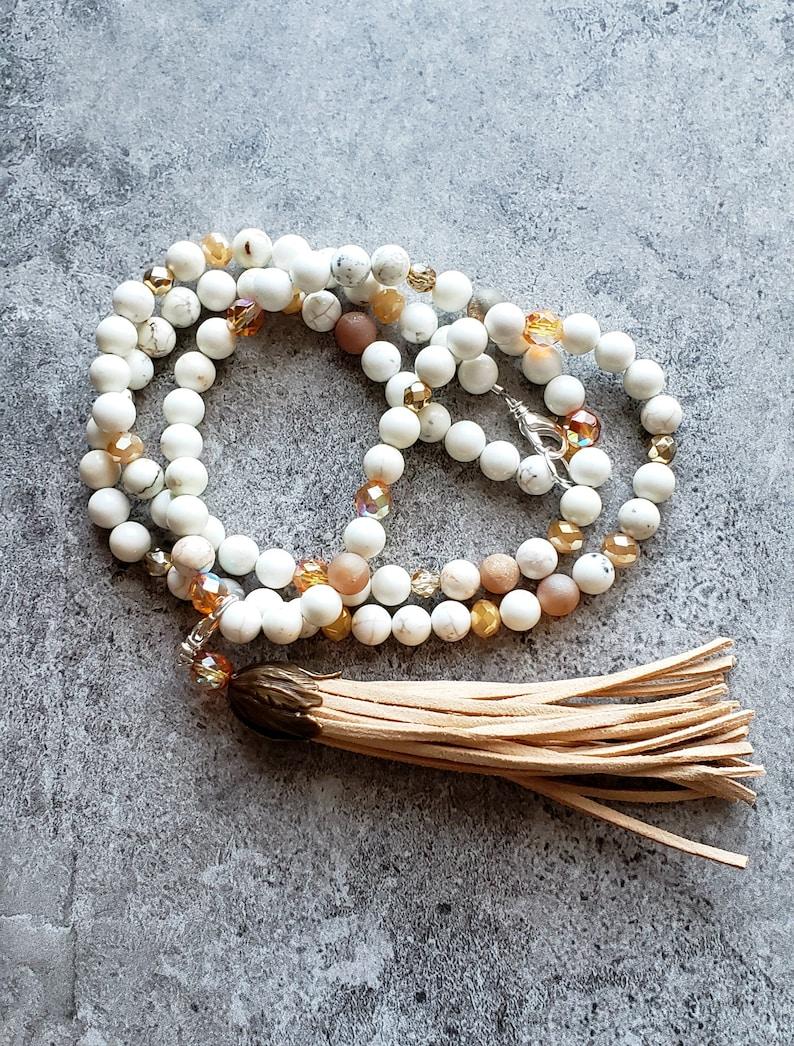 Gemstone Tassel necklace Bohemian Boho Tassel necklace White Magnesite Necklace Long Beaded Tassel necklace Removable Tassel necklace