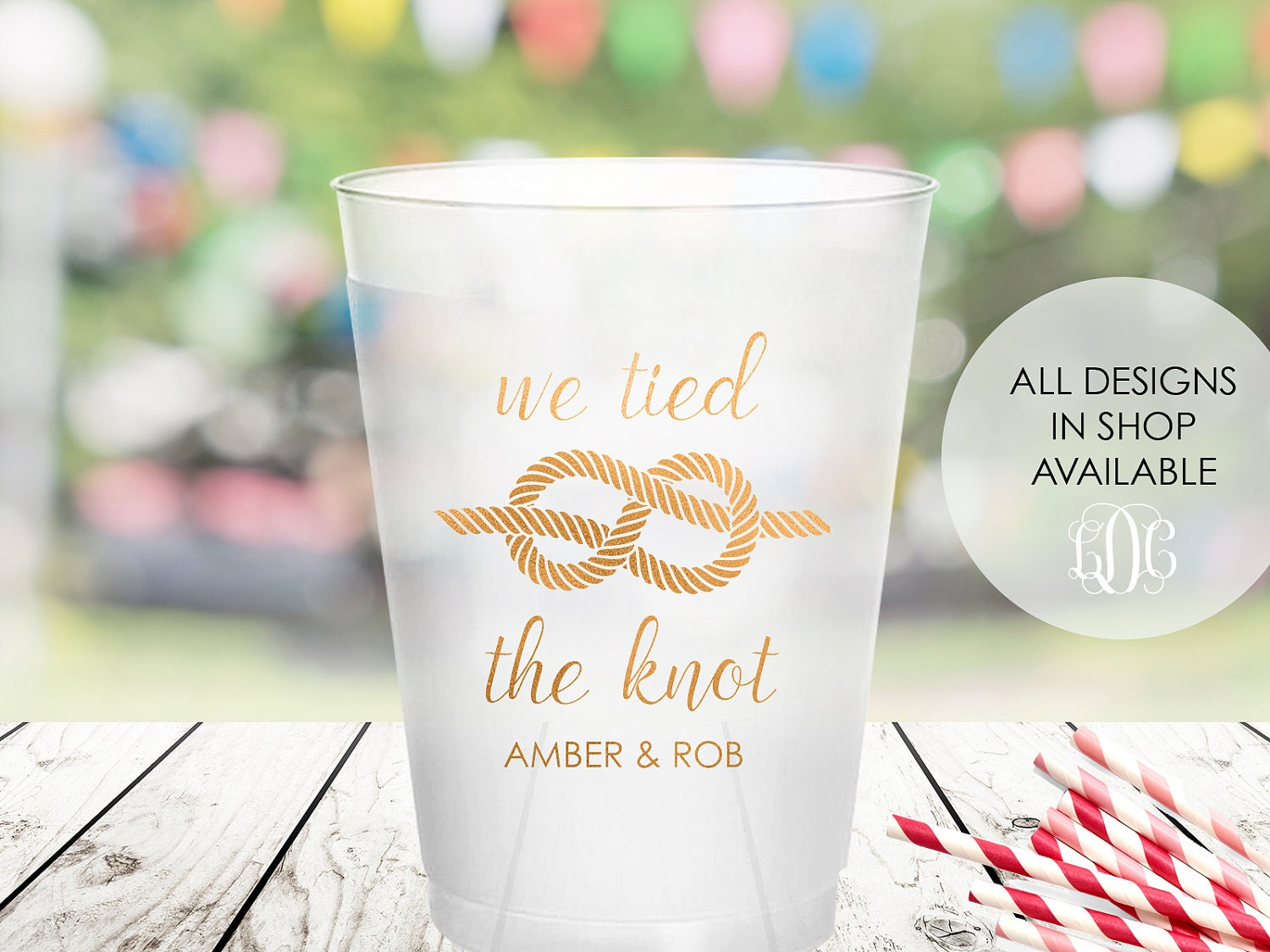 Tied The Knot Wedding Frosted Cups Personalized Shatterproof Etsy