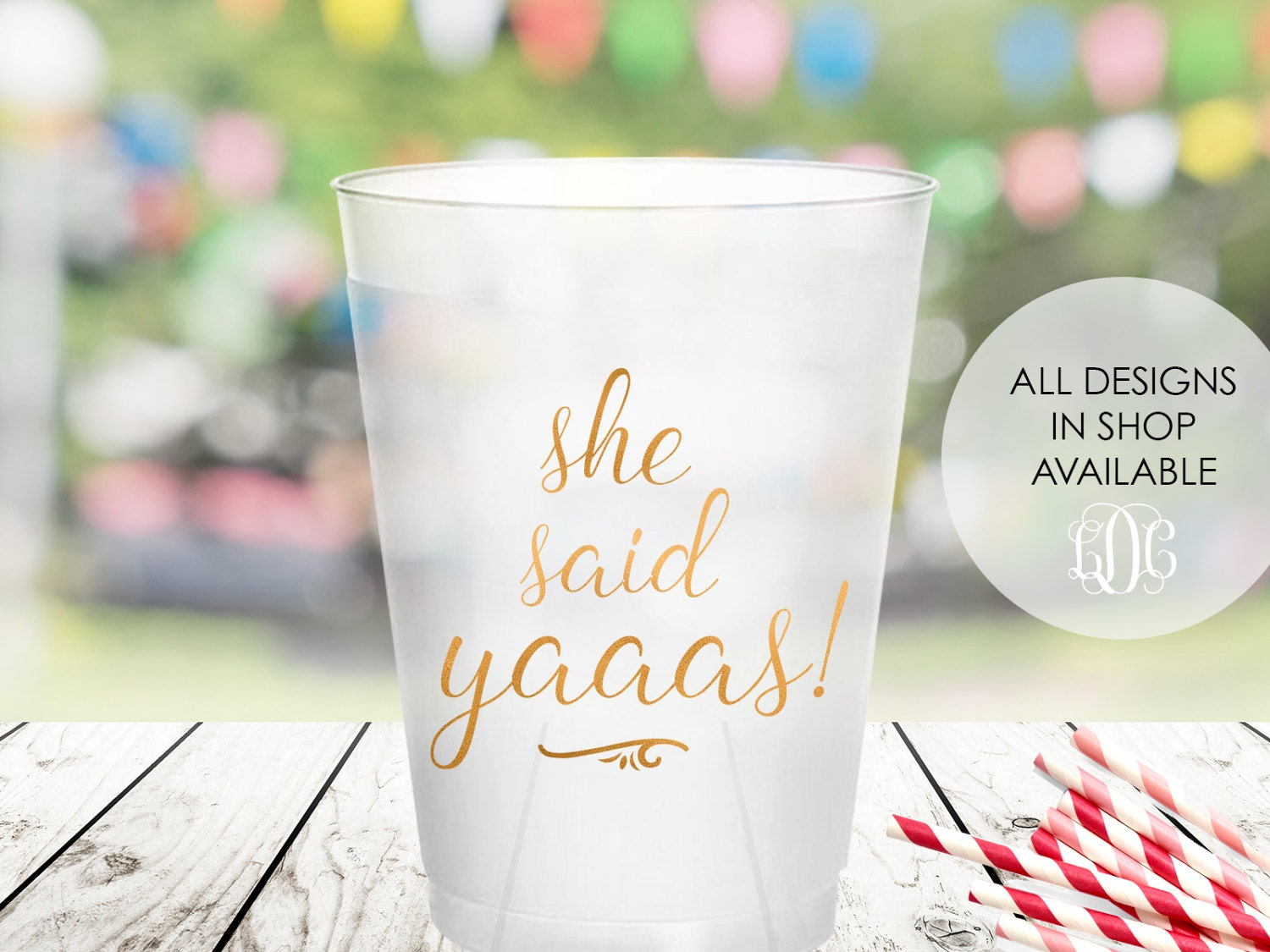bachelorette party cups bridal shower cup she said yaaas party decorations wedding shower decor cheers cups wedding decorations