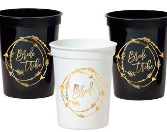Bachelorette Party Cups - Bride Tribe - Bride - Stadium Plastic Cups - Bachelorette Party Decor - Bridal Shower