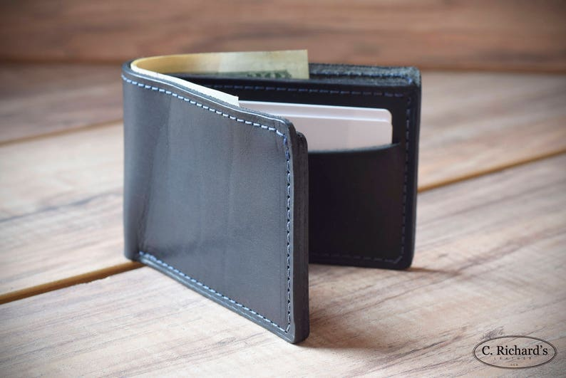 cc0f28fb Black Bifold Wallet, Mens Bifold Wallet, Slim Bifold Wallet, Personalized  Wallet, Classic Black Bifold, Amazing gift