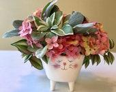 Cat Hydrangeas Floral Arrangement, Kitten  Pink Hydrangeas floral, Hot Pink and Light Pink Hydrangeas in an Adorable Kitten Vase