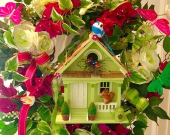 Birdhouse Wreath, Spring Wreath For Front Door, Summer Wreath For Front Door,  Motheru0027s