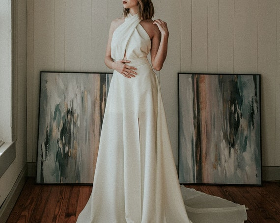 Modern Wedding Dress with Removable Skirt