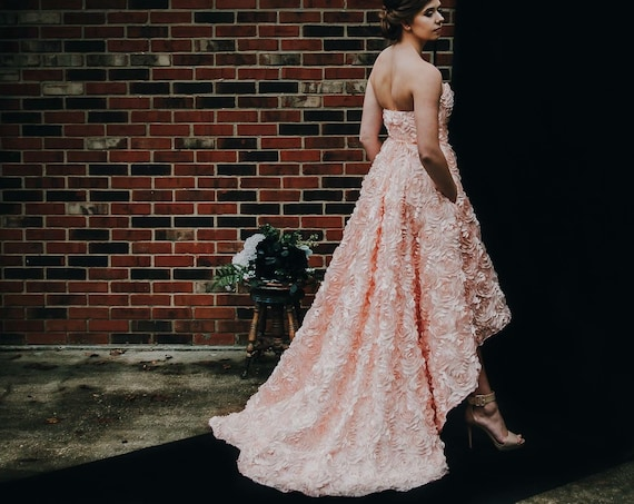 Julia Rose- High Low Blush Floral Wedding Gown, Prom Dress- Alternate Wedding- Bridesmaid Dress- kphillipsclothier