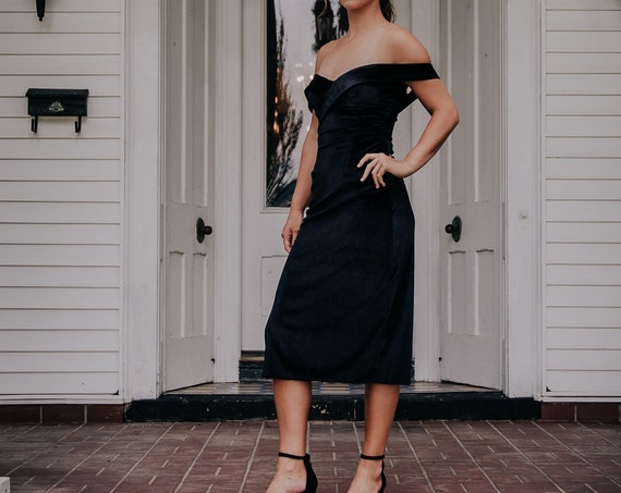 Black Velvet Dress- Off the Shoulder- Cocktail Dress- Ready to Ship- Floor Model Only