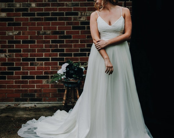 Roselette- Wedding Gown, Lace Spaghetti Strap