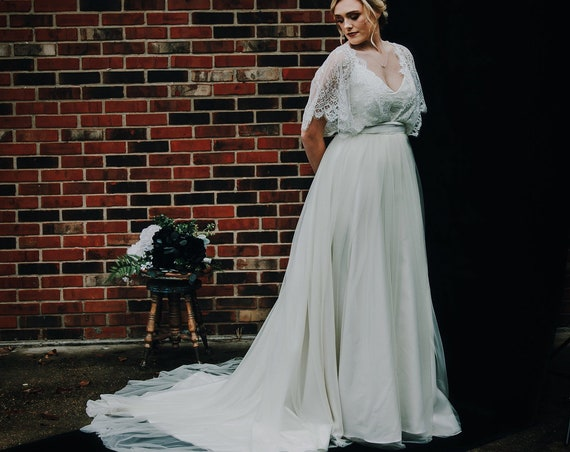 Roselette- Lace Wedding Gown with Sleeves, Modest Wedding Gown, with Lace Topper