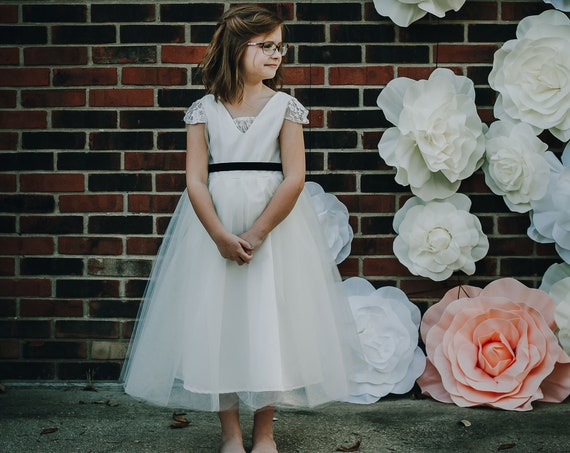 Flower Girl Dress with Sleeves, Tulle, Simple