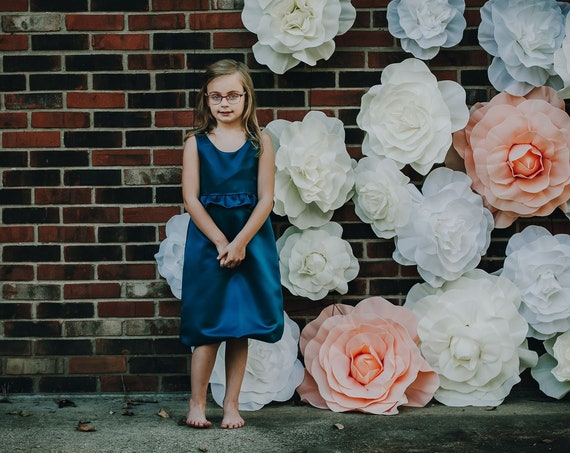 Satin Flower Girl Dress with Bow and Ruffles