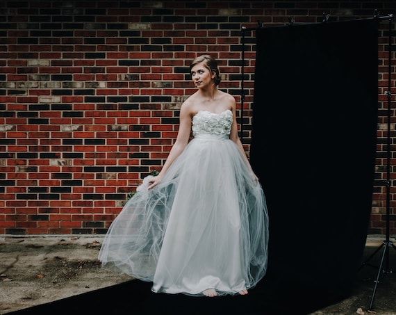 Floral Satin Bodice with Tulle Skirt