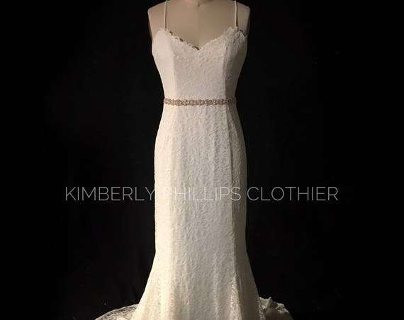 Floor Model- Sample Sale- Lace Wedding Dress, Backless, Sweep Train, Made to Measure, Custom