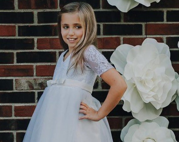 Ivory Lace Flower Girl Dress With Sleeves, Tulle Skirt