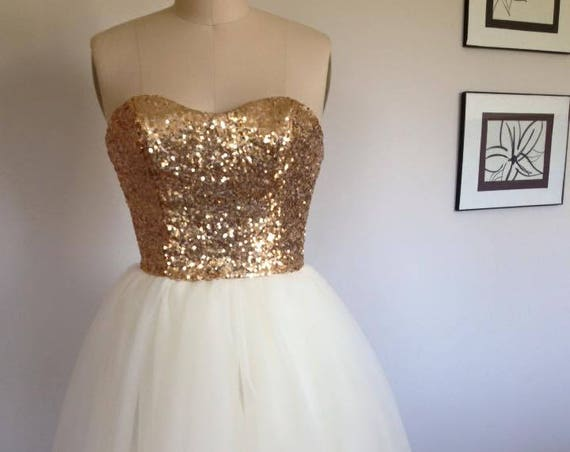 Short Gold and White Wedding Dress