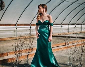 28fbeda945878 Mermaid Satin Prom Dress, Bridesmaid Dress, Off the Shoulder