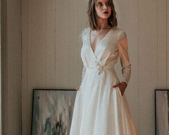 Satin Wedding Gown with Sleeves, Classic Wedding Dress