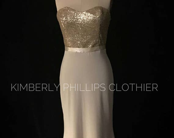 Bridesmaid Dress, Sequin, Champagne and Gold Fitted Mermaid,  Simple Prom Dress