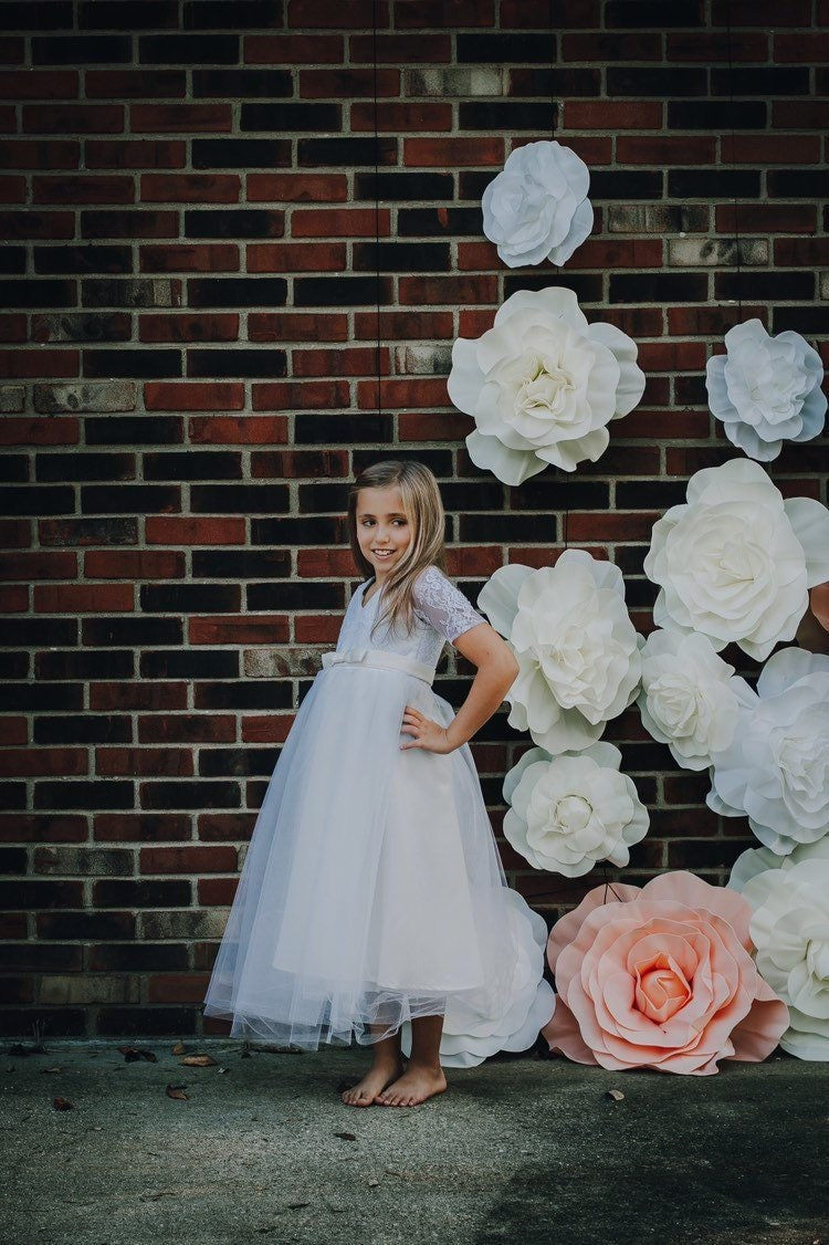 c8c8de75c7d Ivory Lace Flower Girl Dress With Sleeves