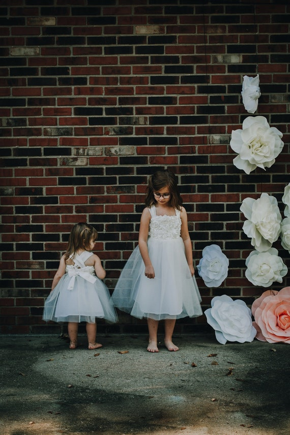 Flower Girl Dress, Tulle and Lace with Bow, Adjustable