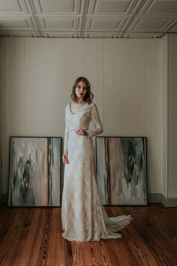 Lace Long Sleeve Wedding Dress, Mermaid Skirt, Open Back