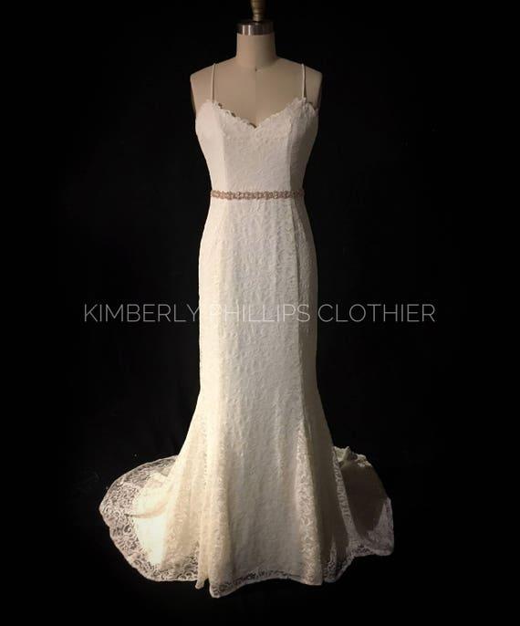 Lace Wedding Dress, Backless, Sweep Train, Made to Measure, Custom
