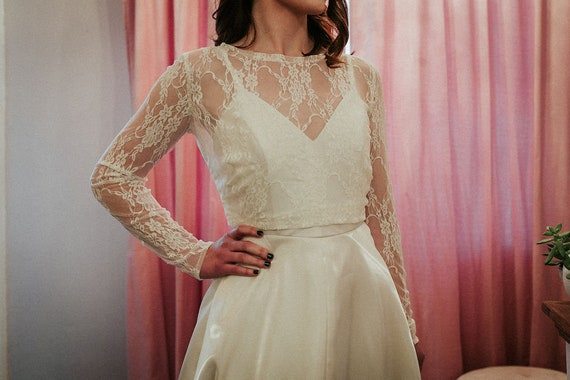 Lace Bridal Topper with Fitted Sleeve Lace Bridal Topper