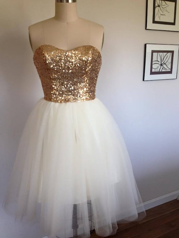 Gold Sequin Wedding Gown, Tulle Skirt, Gold Bridesmaid Dress, Bridesmaid Dress, Reception Dress, Strapless, Prom