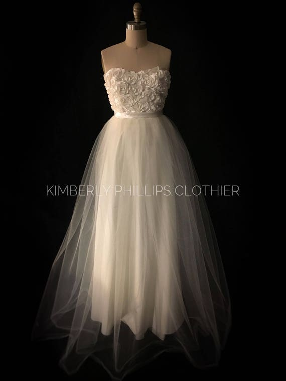 Long Ivory Tulle Wedding Dress, Bridesmaid Dress, Satin Floral Bodice, Prom Dress- Alternate Wedding- Bridesmaid Dress- kphillipsclothier