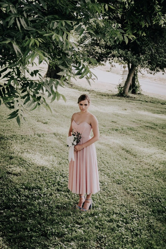 Simple Bridesmaid Dress, Blush Pink Prom Dress, Mauve