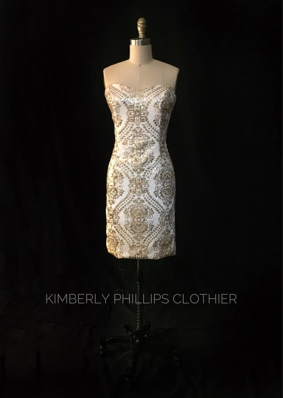 Strapless Ivory and Gold Sequin Dress- Made to Order- Made to Measure- Alternate Wedding- Reception Dress-