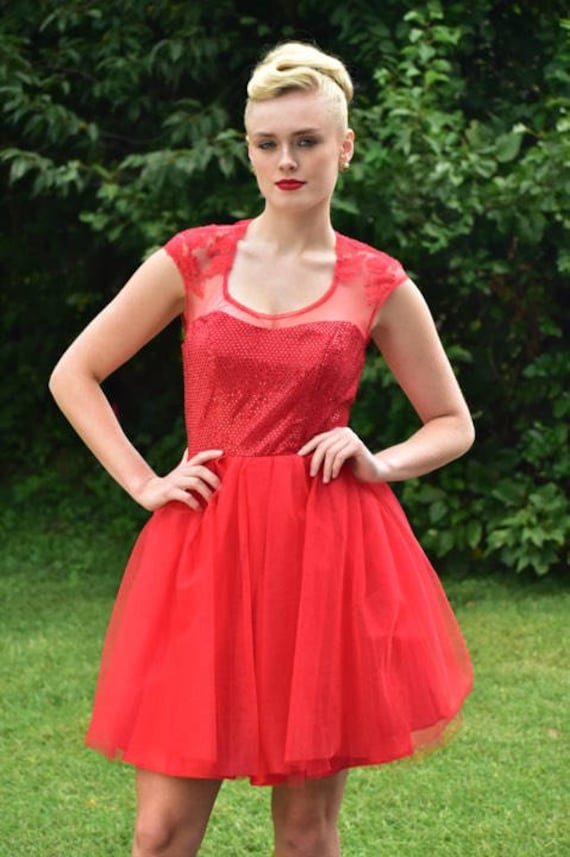Floor Model - Ready to Ship Red Sequined, Illusion, Tulle Short Prom Dress, Homecoming Dress