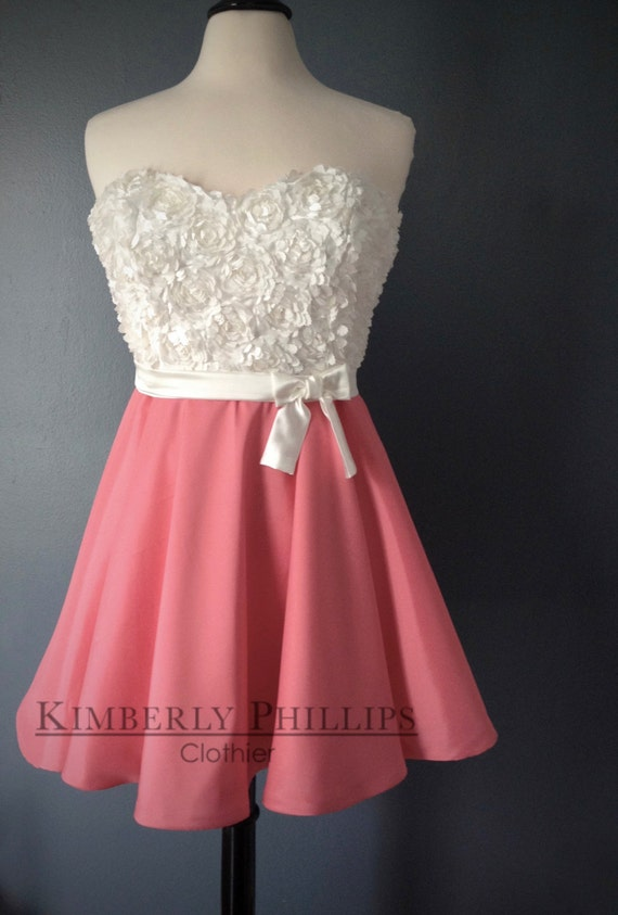 Floor Model - Short Lace Dress, Ivory, Coral, Bridesmaide