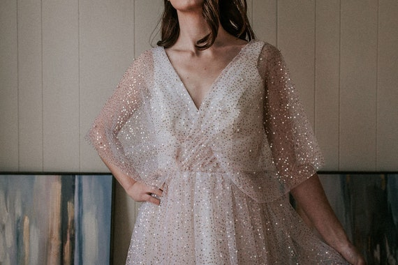 Sparkle Wedding Dress with Sleeves