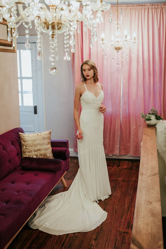Modern Fit and Flare Wedding Dress, Minimalist Wedding Gown