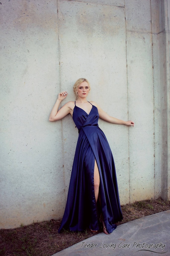 Navy Satin Charmeuse Wrap Gown