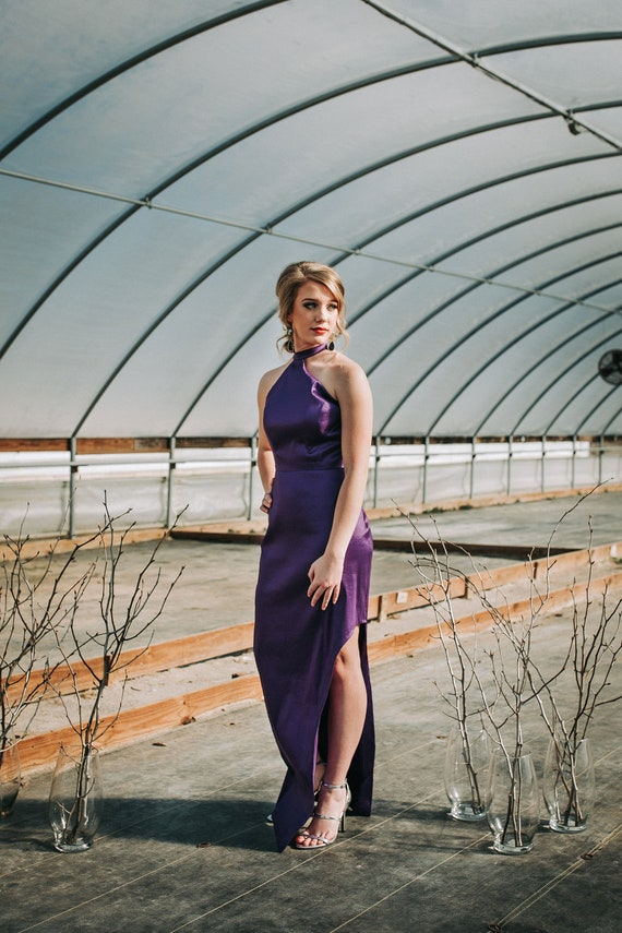 Simple Prom Dress, Bridesmaid Dress, Asymmetrical Halter