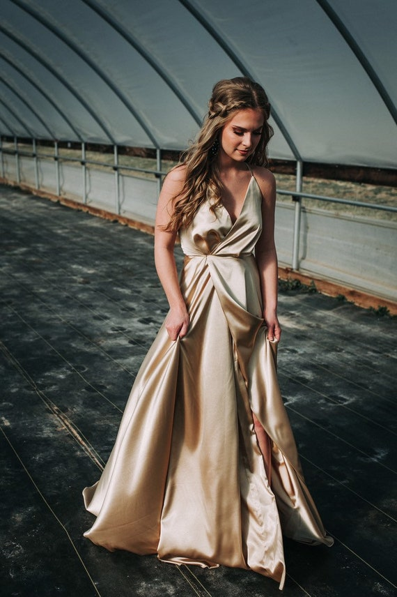 Satin Charmeuse Wrap Gown