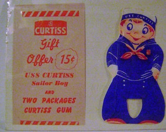 Vintage Curtiss Chewing Gum Sailor Boy and Ad