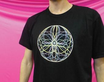 Flower Mandala- 100% Ring-Spun Cotton Shirt - Ten Flowers seen In Poi, Hoop, Flow Arts and Juggling