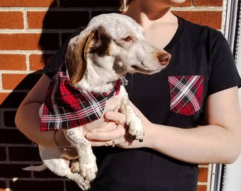 Red and Black Plaid Fido and Me Gift Pack|Gifts for dogs and dog lovers|Holiday|Christmas|Matching accessories